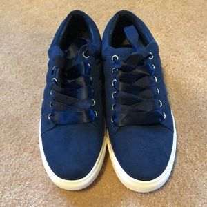 Navy Blue Tennis Shoes with ribbon laces...NWOT
